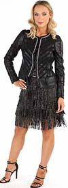 For Her 81698 - Womens Suede Fringe Design Skirt