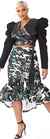 For Her 81786-GrayOlive - Womens Print Design Ruffle Flounce Skirt