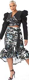 For Her 81786-GrayOlive - Womens Print Design Ruffle Flounce Skirt