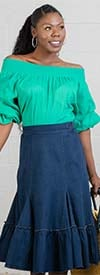 For Her 8675 - Womens Ruffle Detail Denim Skirt