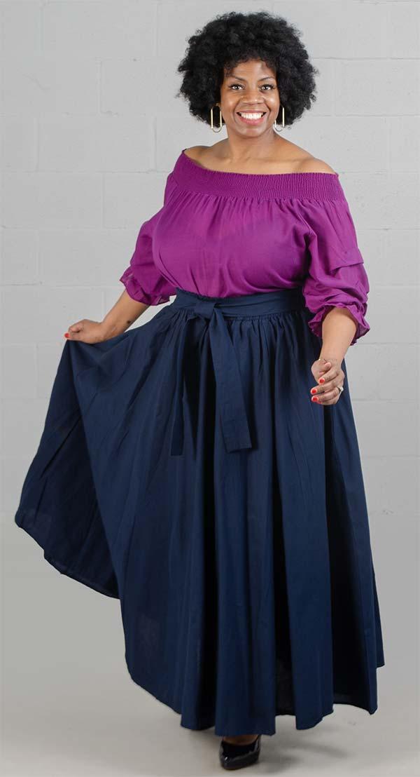 KaraChic 7001S-Navy - Elastic Waist Skirt