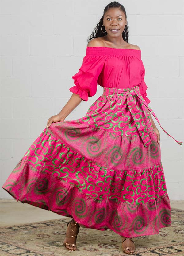 KaraChic 7554 - Womens African Style Print Skirt With Sash