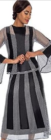 Raquel 2102-Black / White - Womens Mesh Style Skirt With Striped Design