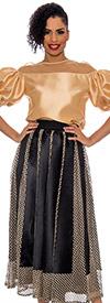 Raquel 2102-Gold - Womens Mesh Style Skirt With Striped Design