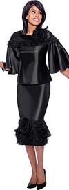 Rose Collection RC885-Black - Ruffled Trim Style Skirt