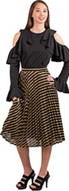 Why Dress - S180100-BlackGold - Womens Striped Metallic Fabric Skirt With Accordion Pleat Design