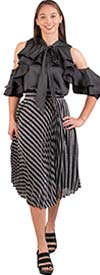 Why Dress - S180100-BlackSilver - Womens Striped Metallic Fabric Skirt With Accordion Pleat Design