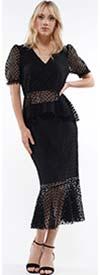 Why Dress - S190370-Black - Sheer Hem Mermaid Style Skirt With Laser Cut Details