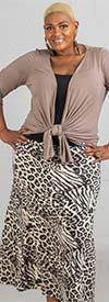 Buzz Jeans - Buz Skirt-SK036-Black/Tan/Leopard Print - Knit Pull-On Skirt