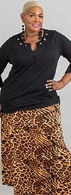 Buzz Jeans - Buz Skirt-SK036-Brown/Leopard- Knit Pull-On Skirt