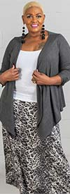 Buzz Jeans - Buz Skirt-SK036-Grey/Black/Leopard Print - Knit Pull-On Skirt