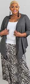 Buzz Jeans - Buz Skirt-SK036-Grey/Black/Leopard Print - Knit Pull-On Skirt