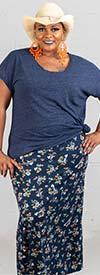 Buzz Jeans - Buz Skirt-SK036-Navy/Orange/Floral- Knit Pull-On Skirt