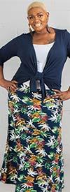 Buzz Jeans - Buz Skirt-SK036-Navy / Tropical - Knit Pull-On Skirt