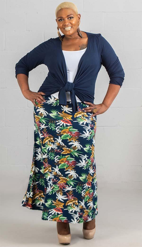 Buz Jeans - Buz Skirt-SK036-Navy / Tropical - Knit Pull-On Skirt