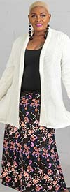 Buzz Jeans - Buz Skirt-SK036-Peach/Lilac/Floral- Knit Pull-On Skirt