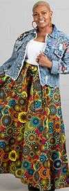 KaraChic 7001-PinkYellow - Womens Print Maxi (Long) Skirt With Elastic Waist & Sash