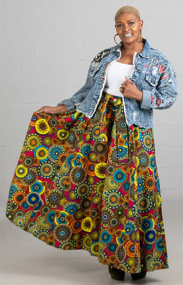 KaraChic 7001-PinkYellow - Womens Print Maxi (Long) Skirt With Elastic Waist & Sash