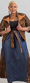 KaraChic 7503D-Leopard - Womens African Style Print & Denim Panel Skirt