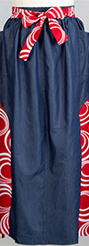 KaraChic 7503D-RedWhite - Womens African Style Print & Denim Panel Skirt