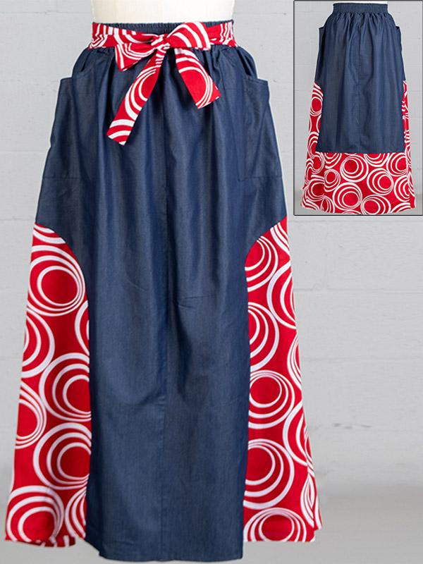 KaraChic 7503D-RedWhite - Womens African Style Print & Denim Panel Skirt
