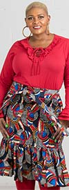 KaraChic 7532 - Womens African Style Print Design Ruffle Hem Skirt With Sash