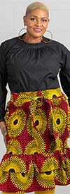 KaraChic 7544 - Ladies African Style Print Smocked Elastic Double-Tiered Skirt