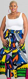KaraChic 7545 - Womens African Style Print Design Smocked Skirt / Dress With Sash