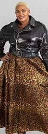 KaraChic 6777GP - Ladies Gold Foil Leopard Print Skirt