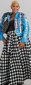 KaraChic 7001-WhiteBlack - Womens Polka Dot Print Maxi (Long) Skirt With Elastic Waist & Sash