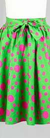 KaraChic 7012-GreenPink - Womens Polka Dot Print Midi Skirt