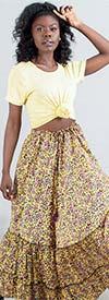 KaraChic ST-11-YellowPurple - Womens Ruffle Hem Print Skirt With Adjustable Drawstring Waist