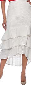 Raquel 2073-OffWhite - Womens Tiered High-Low Mesh Skirt