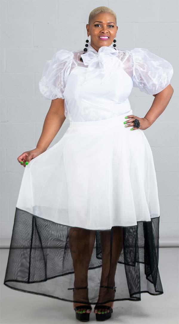 Raquel 2096L - Womens Long Mesh Two Tone Skirt