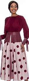 Raquel 2099-Wine - Womens Zip-Back Polka-Dot Skirt With Tulle Overlay Design