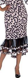 Raquel 2109 - Womens Animal Print Tulle Flounce Hem Skirt