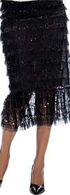 Raquel 2112-Black - Elastic Waist Womens Skirt Embellished With Sequins In Lace Tulle Design