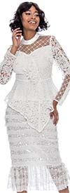 Raquel 2112-White - Elastic Waist Womens Skirt Embellished With Sequins In Lace Tulle Design