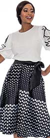 Raquel 2117 - Womens Print Design Bow Waist Skirt