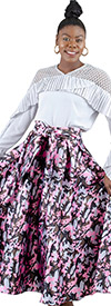 Rose Collection RC110 - Womens Pink Camo A-Line Midi Skirt