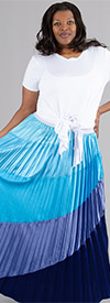 Rose Collection RC215-Blue - Multi Color Ombre Womens Pleated Skirt