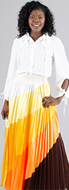 Rose Collection RC215-YellowOrange - Multi Color Ombre Womens Pleated Skirt