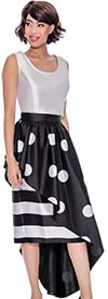 Rose Collection RC285-BlackWhite -Stripe & Polka-Dot Print Womens Side High-Low Style Skirt