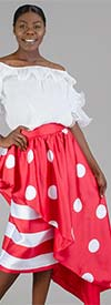 Rose Collection RC285-Red -Stripe & Polka-Dot Print Womens Side High-Low Style Skirt