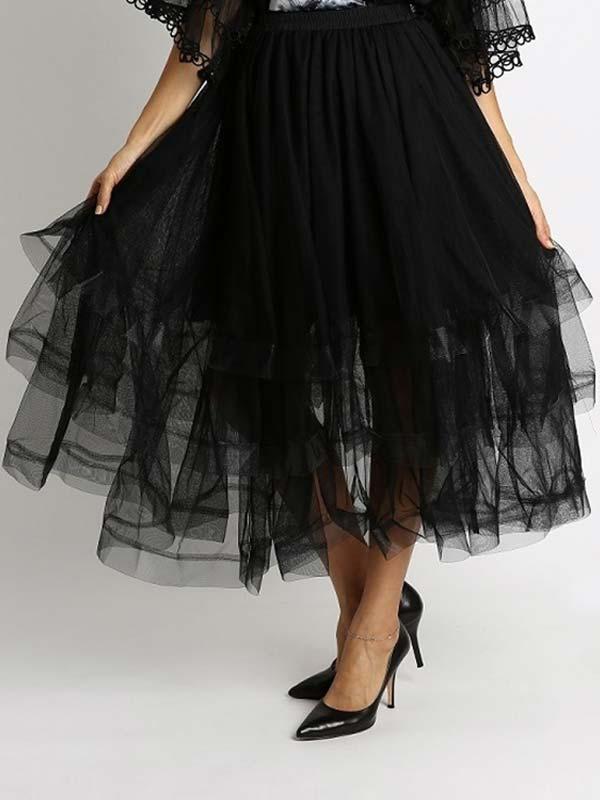 Soul Line S1010-Black - Womens Elastic Waist Tiered Tulle Design Maxi Skirt