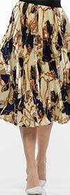 Why Dress - S190032 - Womens Pleated Skirt In Printed Design
