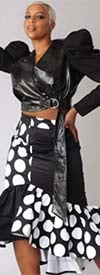 For Her 81786-Black/White - Womens Print Design Ruffle Flounce Skirt