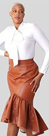 For Her 81916-Brown - Womens Faux Leather Design High-Low Hem Skirt With Side Zip