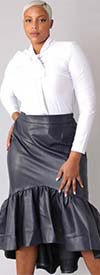 For Her 81916-Navy Grey - Womens Faux Leather Design High-Low Hem Skirt With Side Zip