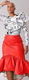 For Her 81916-Red - Womens Faux Leather Design High-Low Hem Skirt With Side Zip